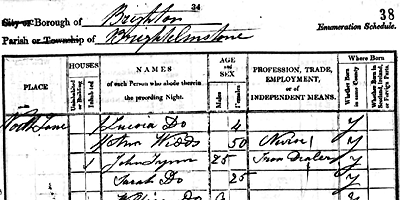 Graphic showing part of an 1841 Census Document