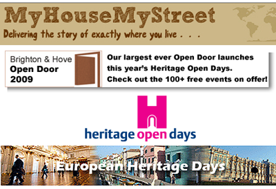 Graphic showing the relationship between MyHouseMyStreet, Brighton & Hove Open Door, Heritage Open Days and the European Heritage Days