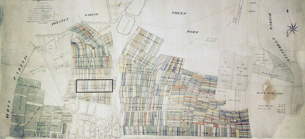 Terrier map of Brighton 1792 (Second Furlong here shown framed). Image courtesy of East Sussex Record Office