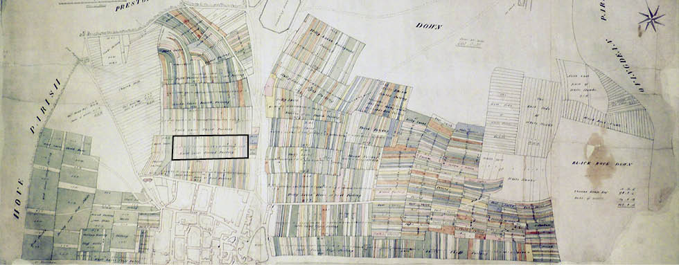 Terrier map of Brighton, 1792 (Second Furlong here shown framed). Image courtesy of East Sussex Record Office