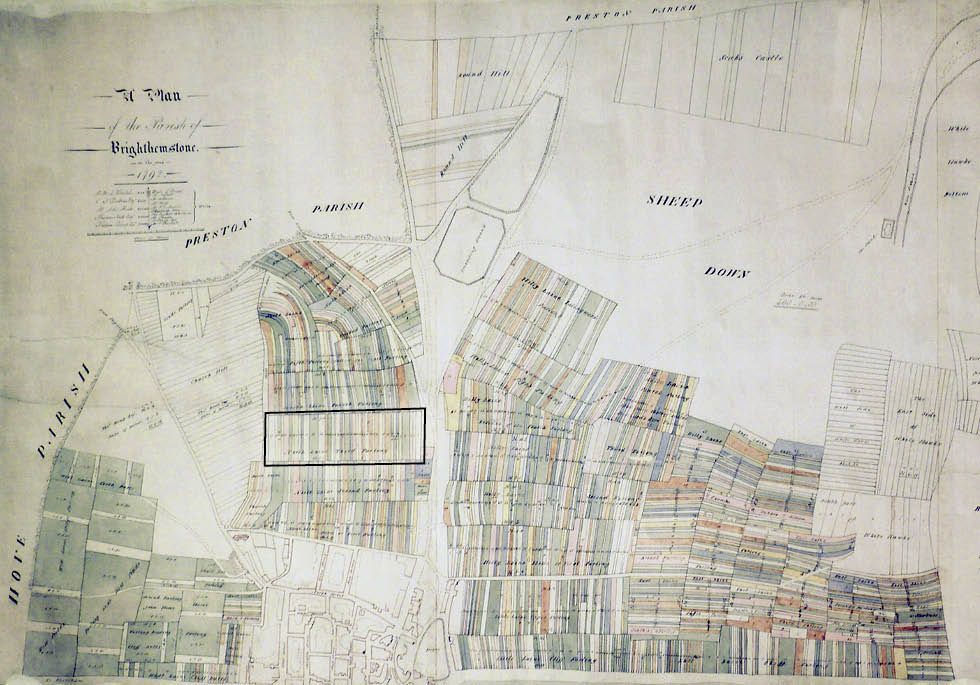 Terrier map of Brighton, 1792 (Third Furlong here shown framed). Image courtesy of East Sussex Record Office