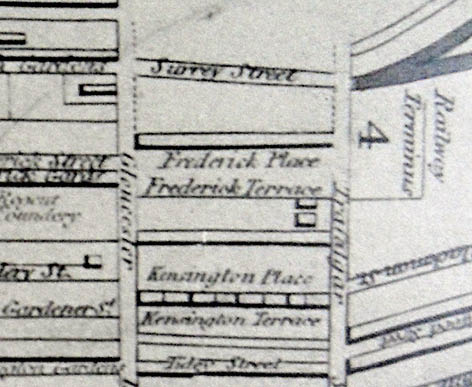 Detail, 1842 Reform map, Gloucester Rd - Trafalgar St, area with possible Trafalgar House. Image courtesy of the Royal Pavilion, Libraries and Museums, Brighton and Hove