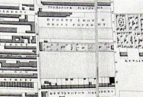 Detail from the 1826 J Pigot-Smith map. Image courtesy of the Royal Pavilion, Libraries and Museums, Brighton and Hove