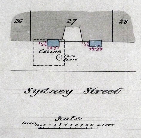 Early-20th century plan for pavement lights at No. 27 Sydney Street. Image courtesy of East Sussex Record Office