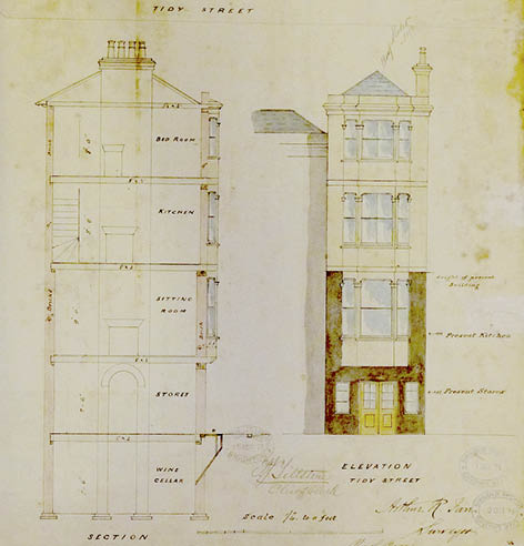 Detail from architectual plan for 29 Tidy Street, 1873. Image courtesy of East Sussex Record Office
