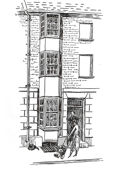 Sketch of Over Street by Freda Nichols, published in The West Pier by Patrick Hamilton, 1953. Image supplied by S. Dunsmore and reproduced courtesy of F+W Media