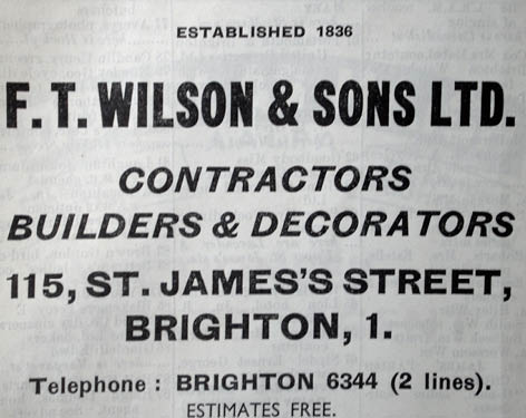 Advert from 20th century Brighton Directory. Image courtesy of the Royal Pavilion, Libraries and Museums, Brighton and Hove