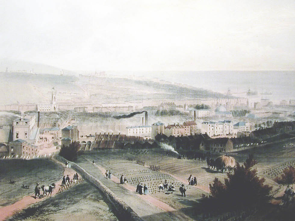 View east over the North Laine with Over Street to the foreground left of centre. Painting: View of Brighton, from Hudson's Mill, sketched by R. H. Nibbs, drawn by C. Childs. Image courtesy of Henry Smith Esq