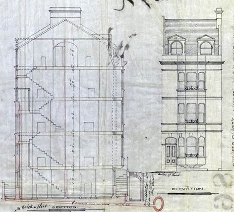Detail from architectual drawing for 19 Charles Street, 1869. Image courtesy of East Sussex Record Office