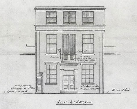 Close-up of the Reason Manufacturing Company's Robert Street works, illustrating the main elevation with hoist. Image courtesy of East Sussex Record Office