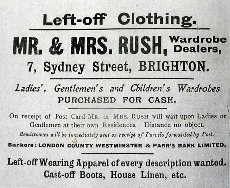 Advert for Rush Wardrobe Dealers Left-off Clothing. Source, Kelly's Directory 1921-22. Image courtesy of the Royal Pavilion, Libraries and Museums, Brighton and Hove