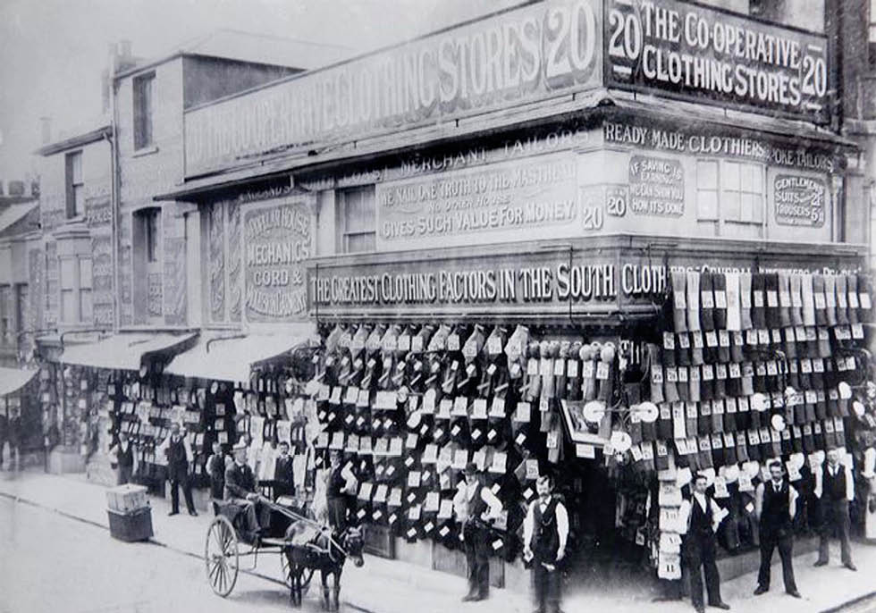 The Co-op Clothing Store at the corner of Sydney Street & Trafalgar Street, c. 1900. Image courtesy of The Regency Society. For further details about this photograph, see: http://www.regencysociety-jamesgray.com