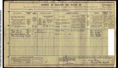 Image of page from 1911 census