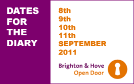 Graphic advertising Brighton & Hove Open Door 2011, 8-11 September