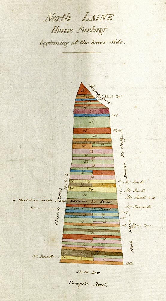 Map of North Laine Home Furlong with ownership of the strips of land denoted by colours and numbers