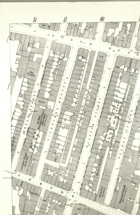 "Map of the ""new"" Orange Row""  (Ordinance Survey 1876) NB Slums of Pimlico have been replaced by respectable Tichborne St."