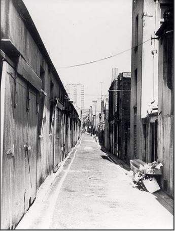 Orange Row in the 1970's – mainly low rent lock-ups- viewed from south