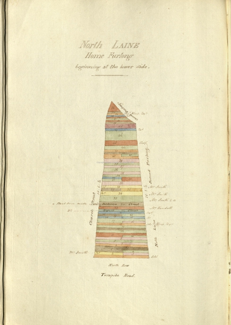 "Home Furlong – late 18th Century Land Ownership Map,  Strips 25 & 26 – owned by ""Mr Smith""- were to become Orange Row. NB The pointed top of this drawing should face West!."