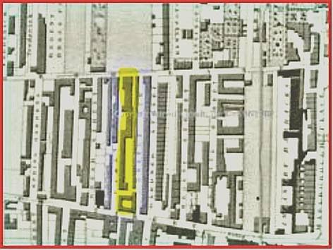 Orange Row as it was in 1825 (detail from Pigott Smith map)