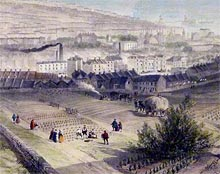 Detail of print 'View of Brighton', showing workers in the fields above Brighton and a view across the town with the Chain Pier in the background.