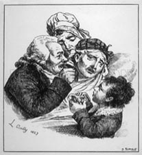 Print of a doctor attending a sickly looking patient