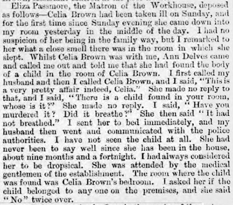 Newspaper clipping of the testimony of Eliza Passmore