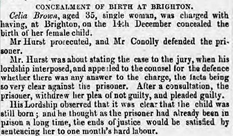 Newspaper clipping of the Concealment of Birth