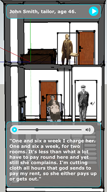 Screen capture of the VisAge v1 application, showing images of people inside a cut-away view of the inside of a house